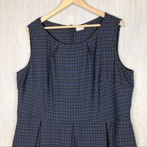 eshakti Dresses - Eshakti plaid fit and flare pleated dress 24w blue